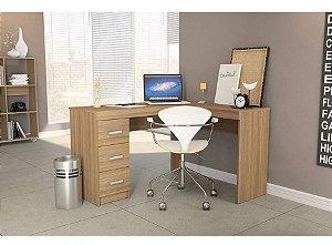 Mesa de Canto em L para Computador 3 Gavetas Fênix Castanho