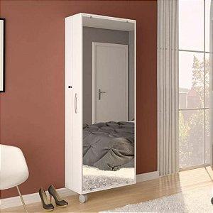 Armário Porta Sapateira Calçados 1 Porta com Espelho Branco