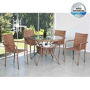 Conjunto Mesa C/ Cooler 4 Cadeiras Alumínio Fibra P/ Jardim Marcela