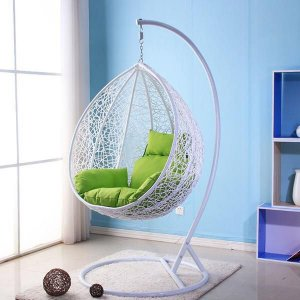 Cadeira Balanço Suspenso Poltrona Rede Teto Ovo Varanda Sacada Jardim - Branco Verde