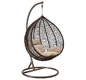 Cadeira Balanço Suspenso Poltrona Rede Teto Ovo Varanda Sacada Jardim - Marrom Bege