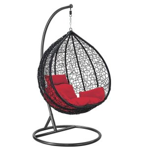 Cadeira Balanço Suspenso Poltrona Rede Teto Ovo Varanda Sacada Jardim - Preto Vermelho