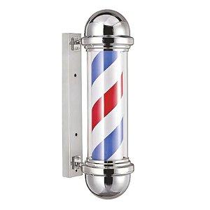 Barber Pole Em Inox Led Poste Barbeiro Cromado 55cm Dompel - 110v