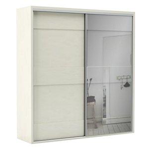 Roupeiro Guarda Roupa Casal Mdf Branco Off White C/ Espelho 2 Portas 2 Gavetas TW202E