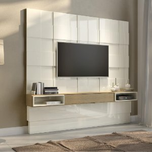 Painel Home 3D Suspenso Para Tv Até 75 Off White Carvalho Tb126 Dalla Costa