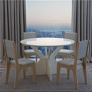 Conjunto Mesa E Cadeiras Jantar Redonda Luxo Mdf Branca Off White