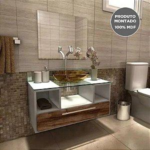 Kit Gabinete Para Banheiro Completo Mdf Balcão Cuba Espelho Taiyo