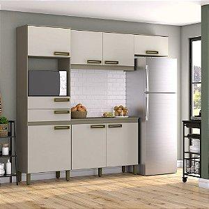 Cozinha Compacta C/ Gabinete Tampo Balcão Armário Aéreo - Duna/Cristal