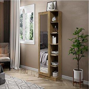 Armário para Sapato Sapateira 1 porta com Espelho Rústico