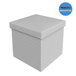 Puff Baú Quadrado Desmontável 38x38 Cm - Branco