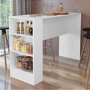 Bancada Balcão Gourmet Mesa Cozinha Multiuso Branca - Sem Porta