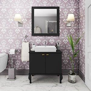 Gabinete De Banheiro Provençal Completo Balcão Cuba Espelho - Preto