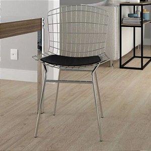 Cadeira Bertóia Aço Aramado Cromada Com Assento Preto