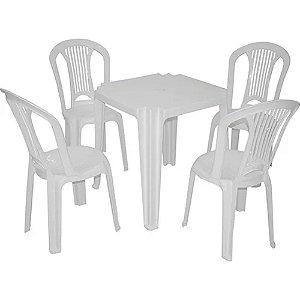 Conjunto De Mesa Com 4 Cadeiras Plásticas