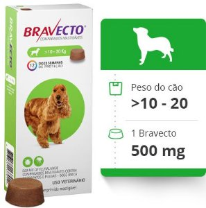 Antipulgas e Carrapatos Bravecto 10 a 20 Kg