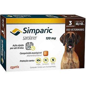 Antipulgas E Carrapatos Simparic 120mg - 40,1 A 60 Kg 3 Comprimidos