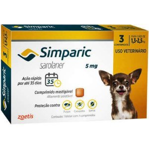 Antipulgas e Carrapatos Simparic 5mg - 1,3 a 2,5 Kg 3 Comprimidos