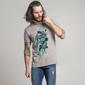 CAMISETA STONE KING AND FLOWERS CINZA CLARO