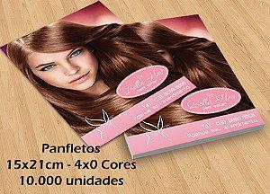 10.000 Panfletos - Tamanho 15x21cm - Papel Couche 90g - 4x0 cores