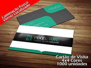1000 Cartões de Visita - Tamanho 9x5cm - Papel Couche 300g - 4x4 cores - Laminação Fosca - Verniz Localizado
