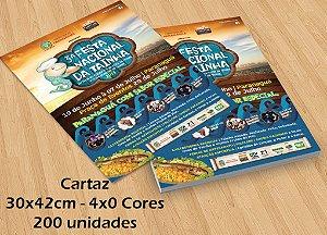 200 Cartazes - Tamanho 30x42cm - Papel Couche 115g - 4x0 cores