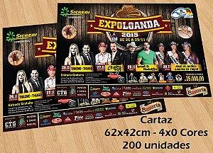 200 Cartazes - Tamanho 42x62cm - Papel Couche 115g - 4x0 cores