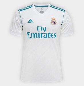 Camisa Real Madrid Home 17 18 - Torcedor Adidas Masculina - Branco e Azul  Turquesa 686166769867c