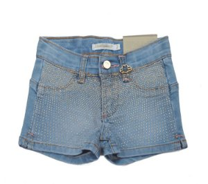 Shorts Jeans Azul Claro com Strass Dourado Stretch e Cintura Ajustável Infantil Outlet