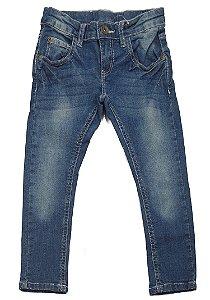 Calça Jeans Azul Estonada com Cintura Ajustável Infantil Outlet