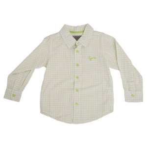 Camisa Manga Longa Xadrez Branca e Verde Limão Infantil Outlet