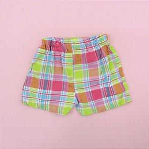Shorts Xadrez Pink Verde e Azul Infantil Disney