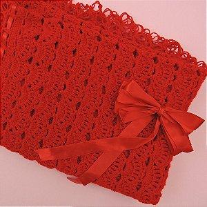 Manta de Tricot Vermelha com Laço