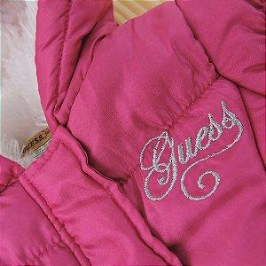 Casaco Inverno Pink Capuz Pêlos Infantil Guess