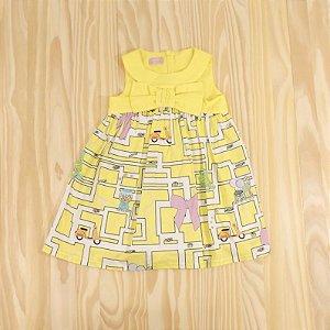 Vestido Amarelo Estampado Infantil Val Max