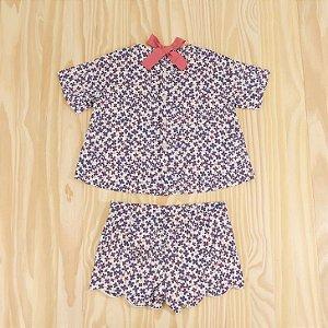 Conjunto Bata  Flores Azuis e Shorts Infantil il gufo