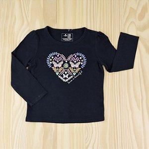 Camiseta Azul Marinho Coração Infantil Baby Gap