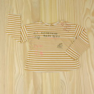 Camiseta Listrada Mostarda e Branca Infantil Zara BabyGirl