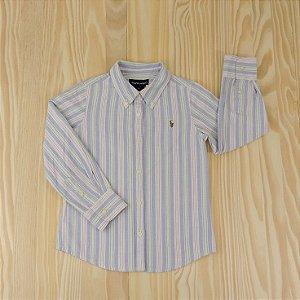 Camisa Listrada Azul e Rosa Infantil Ralph Lauren