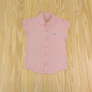 Camisa Listrada Rosa e Branca Infantil Tulye e Charpey