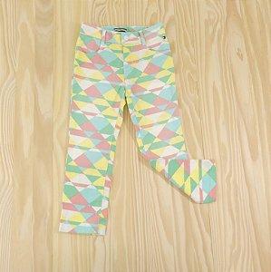 Calça Jeans Branca Coral, Verde e Amarelo Infantil Tommy Hilfiger