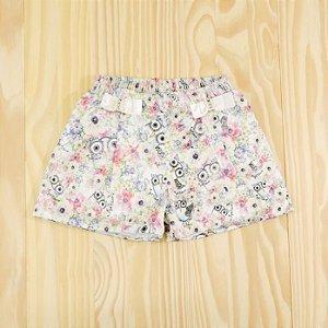 Shorts Branco Florido Infantil Azul Criança