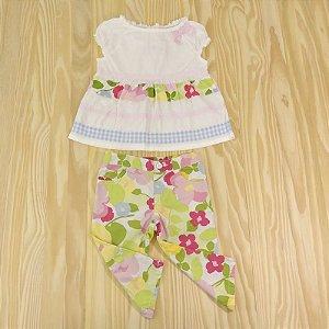 Conjunto Bata e Calça Branco Florido Infantil Crazy 8