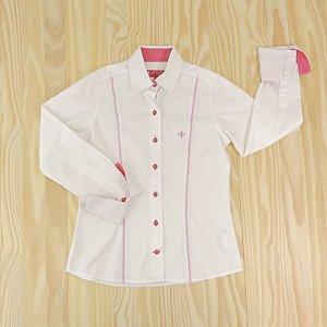 Camisa Branca e Pink Infantil Dudalina Petit