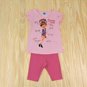Conjunto Camiseta e Shorts Rosa Infantil Basic Só