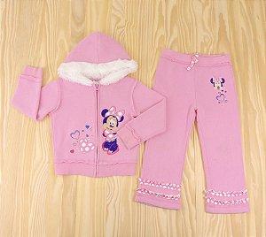 Conjunto Jaqueta e Calça Rosa Minnie Infantil Disney