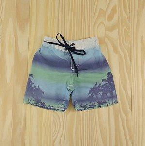 Shorts Azul e Verde  Infantil Póim