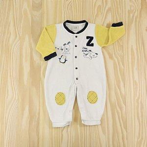 Macacão Plush Branco e Amarelo Infantil Zig Mundi