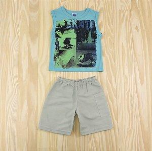Conjunto Regata Azul e Shorts Cinza Infantil Basic Só
