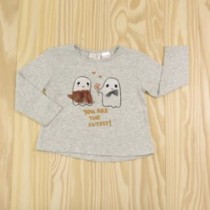 Camiseta Cinza Mescla Estampada Infantil Zara BabyGirl