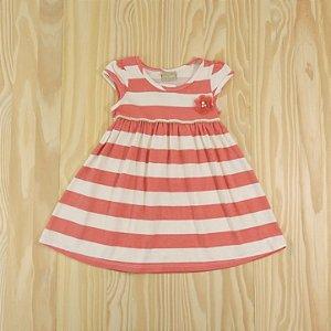 Vestido Coral e Off White Infantil Milon